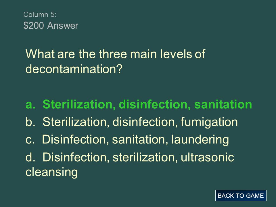 What are the three main levels of decontamination