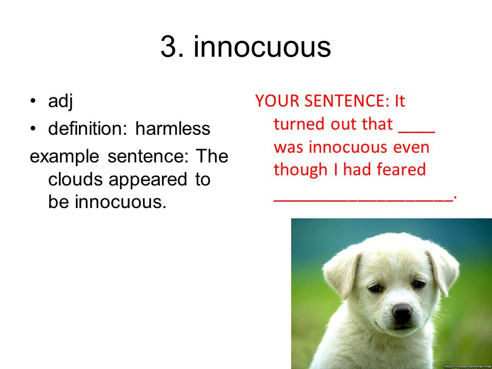 3. innocuous adj definition: harmless
