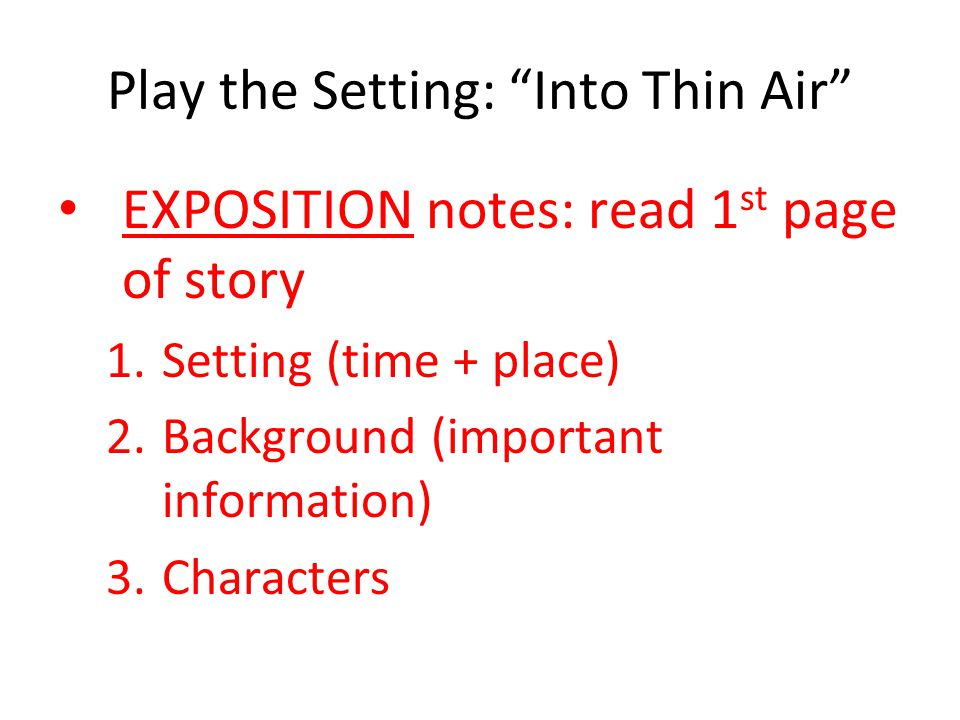 Play the Setting: Into Thin Air