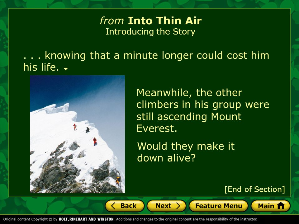 from Into Thin Air Introducing the Story