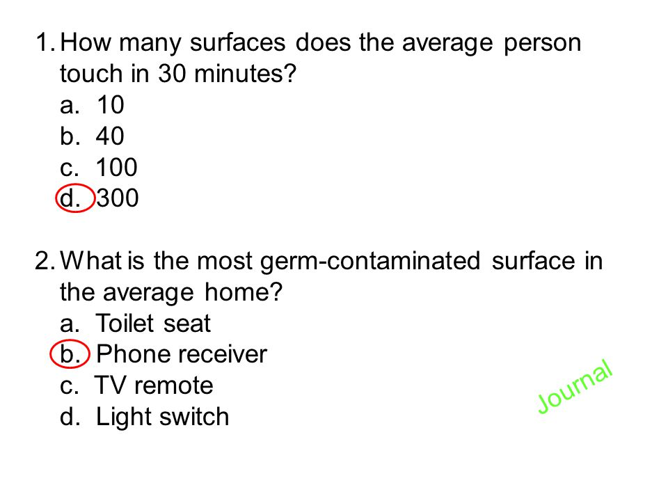 How many surfaces does the average person touch in 30 minutes