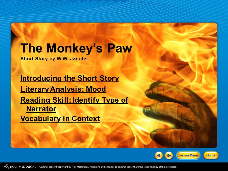 """literary analysis monkey s paw """"the monkey's paw"""" short story by ww jacobs introducing the short story literary analysis: mood vocabulary in context."""