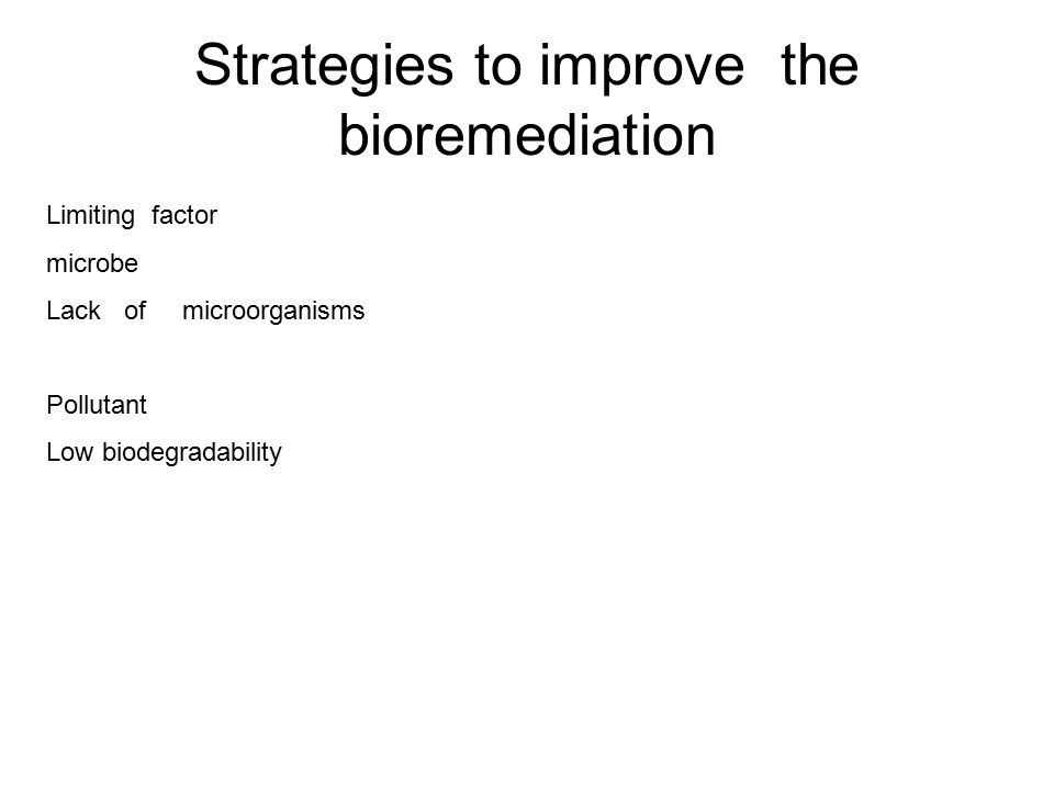 Strategies to improve the bioremediation