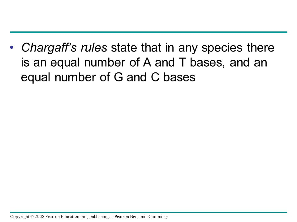 Chargaff's rules state that in any species there is an equal number of A and T bases, and an equal number of G and C bases