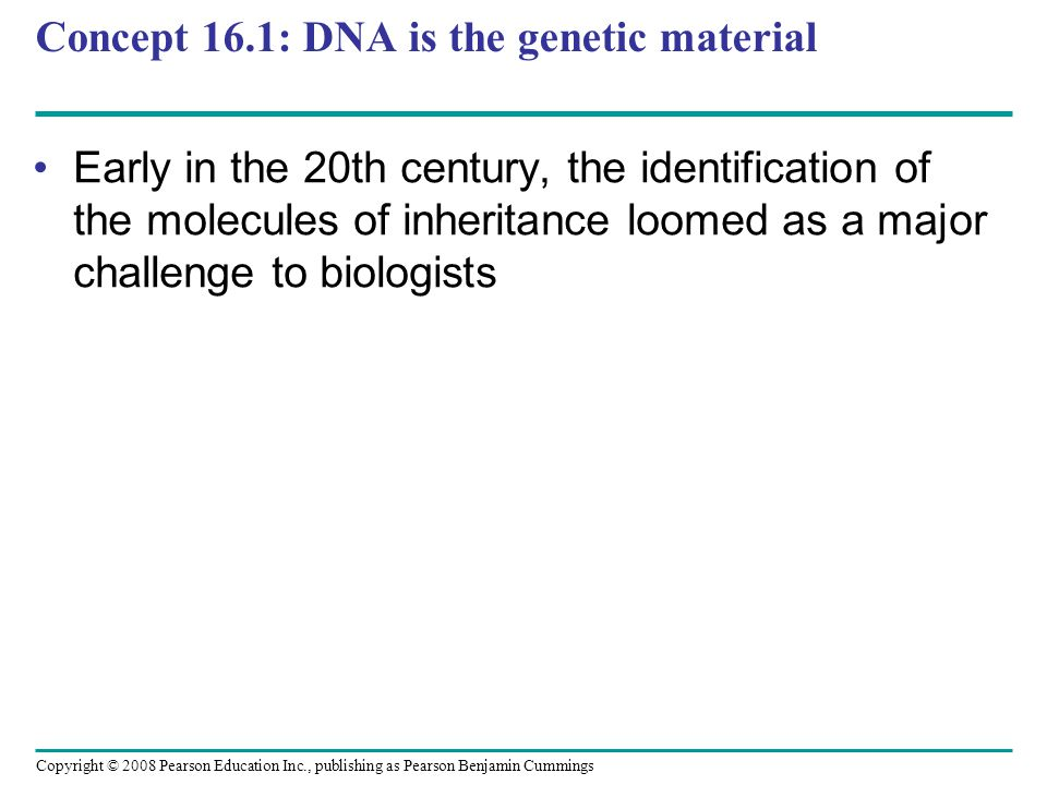 Concept 16.1: DNA is the genetic material