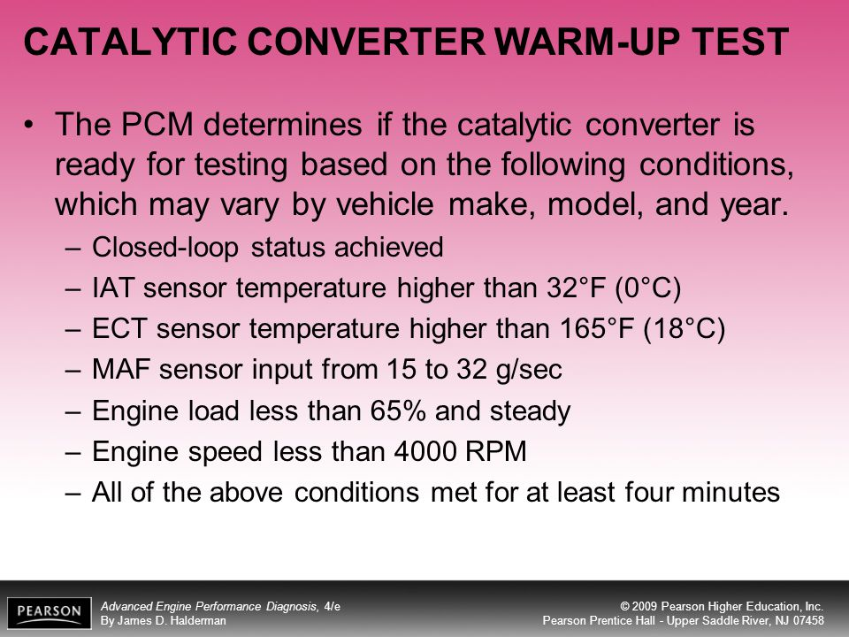 CATALYTIC CONVERTER WARM-UP TEST