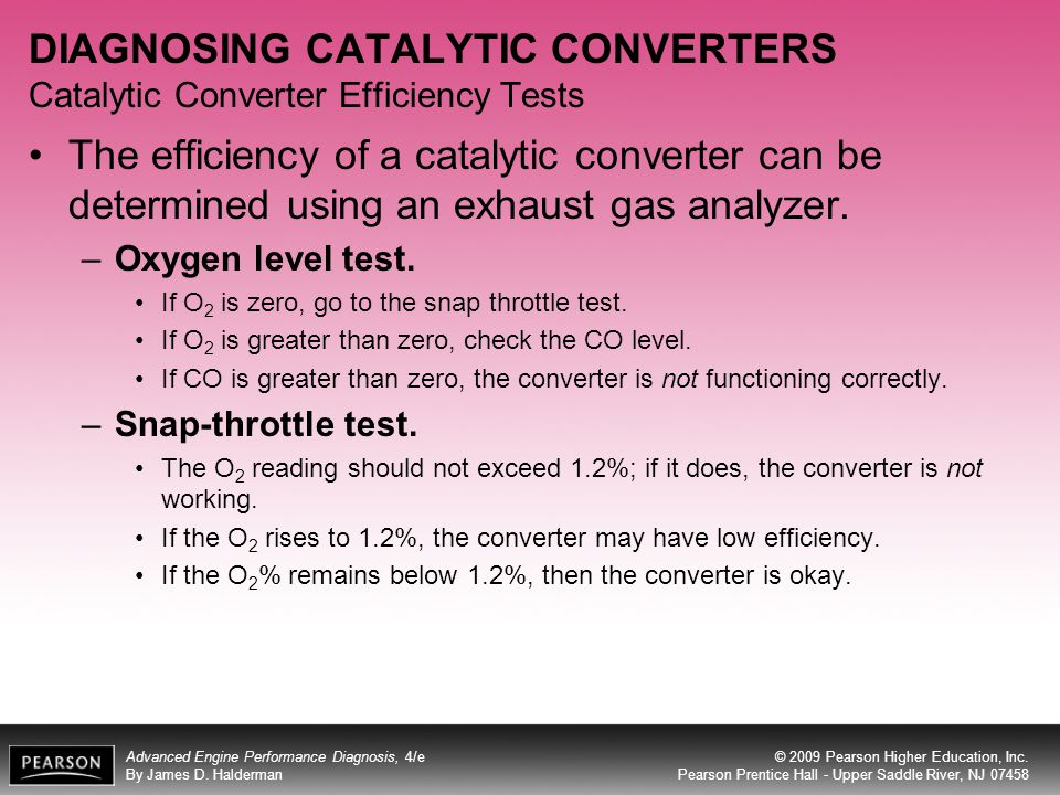 DIAGNOSING CATALYTIC CONVERTERS Catalytic Converter Efficiency Tests