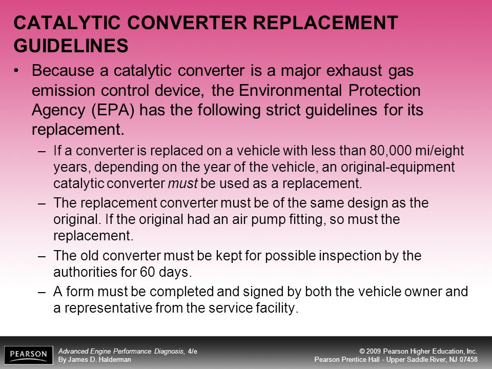 CATALYTIC CONVERTER REPLACEMENT GUIDELINES