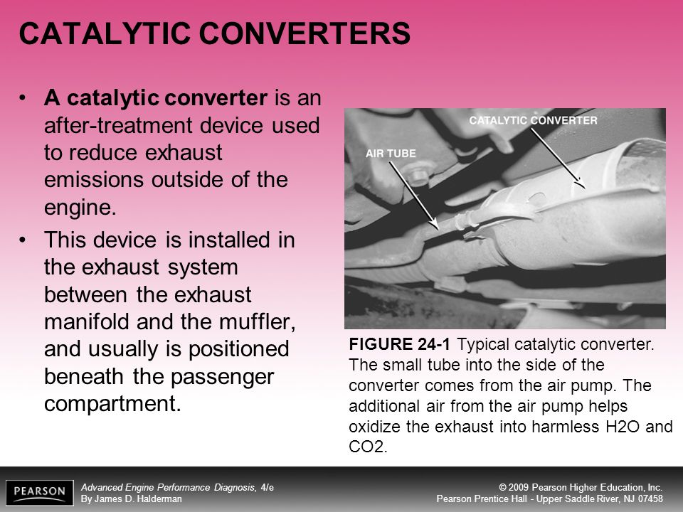 CATALYTIC CONVERTERS A catalytic converter is an after-treatment device used to reduce exhaust emissions outside of the engine.