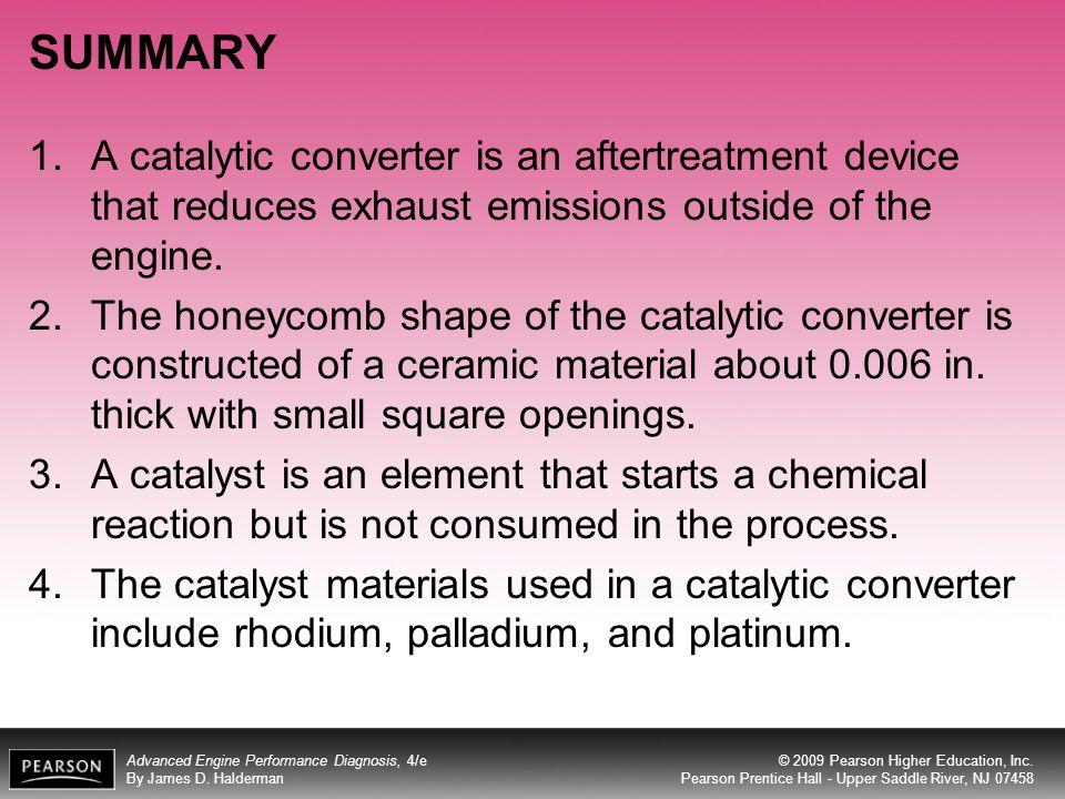 SUMMARY A catalytic converter is an aftertreatment device that reduces exhaust emissions outside of the engine.