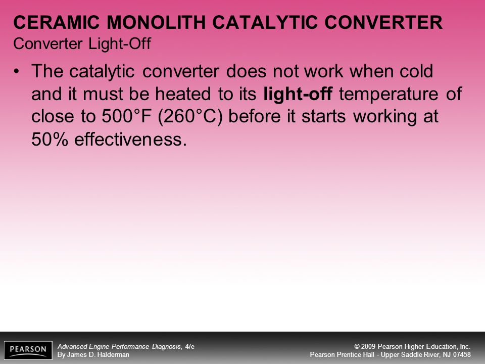 CERAMIC MONOLITH CATALYTIC CONVERTER Converter Light-Off