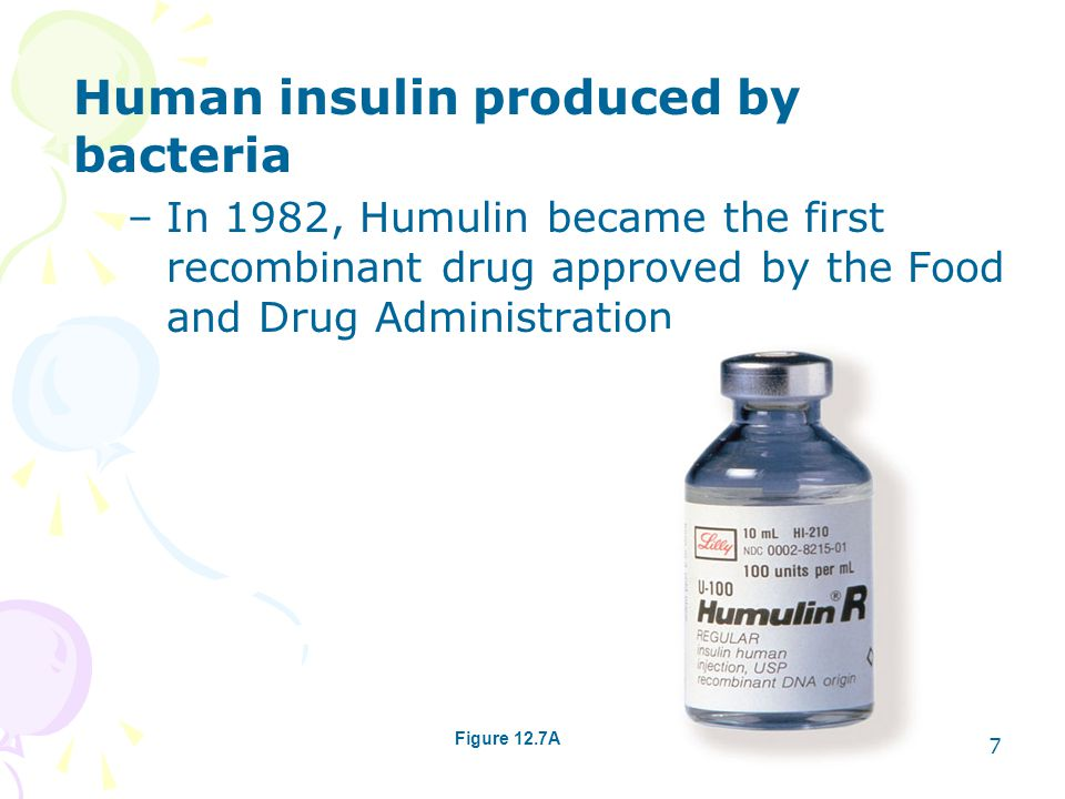 Human insulin produced by bacteria