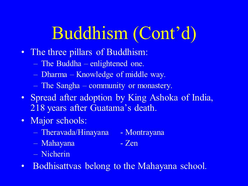 Buddhism (Cont'd) The three pillars of Buddhism: