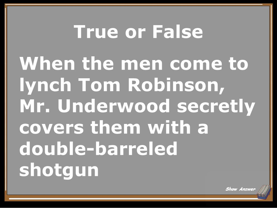 True or False When the men come to lynch Tom Robinson, Mr. Underwood secretly covers them with a double-barreled shotgun.