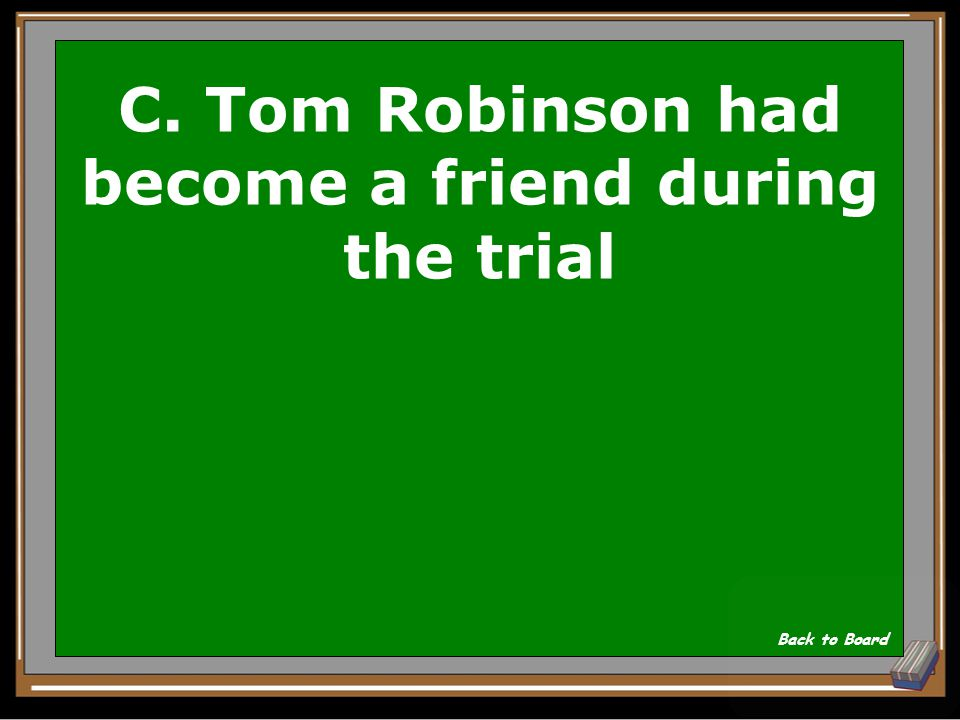C. Tom Robinson had become a friend during the trial