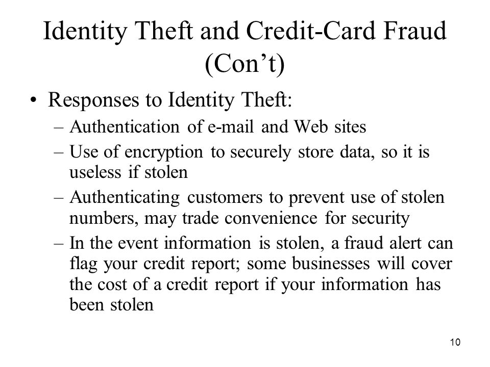 Identity Theft and Credit-Card Fraud (Con't)