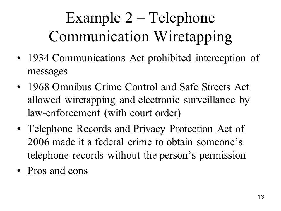 Example 2 – Telephone Communication Wiretapping