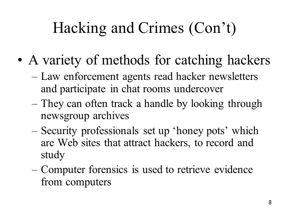 Hacking and Crimes (Con't)