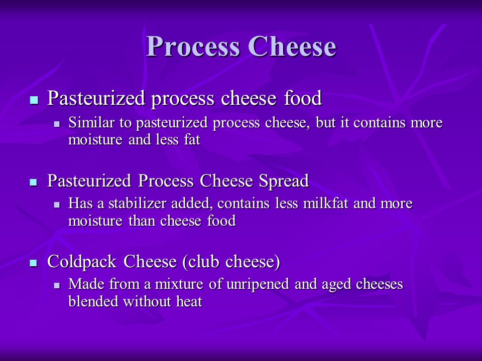 Process Cheese Pasteurized process cheese food