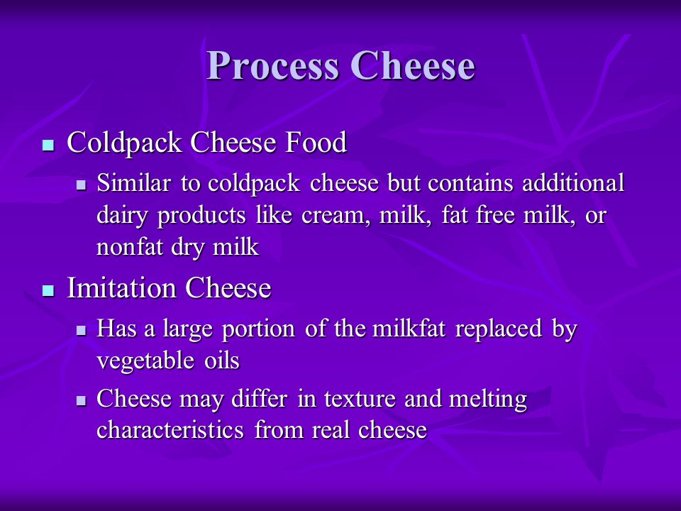 Process Cheese Coldpack Cheese Food Imitation Cheese