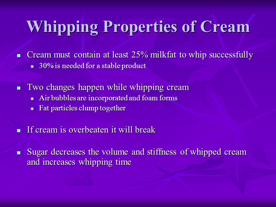 Whipping Properties of Cream