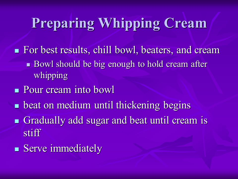 Preparing Whipping Cream