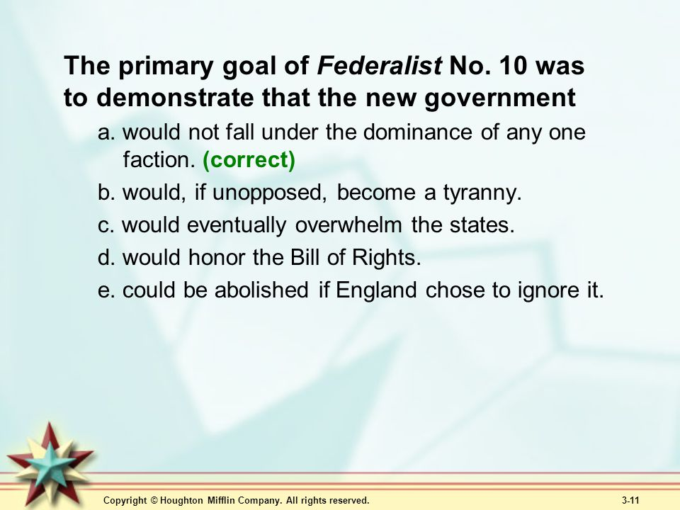 The primary goal of Federalist No