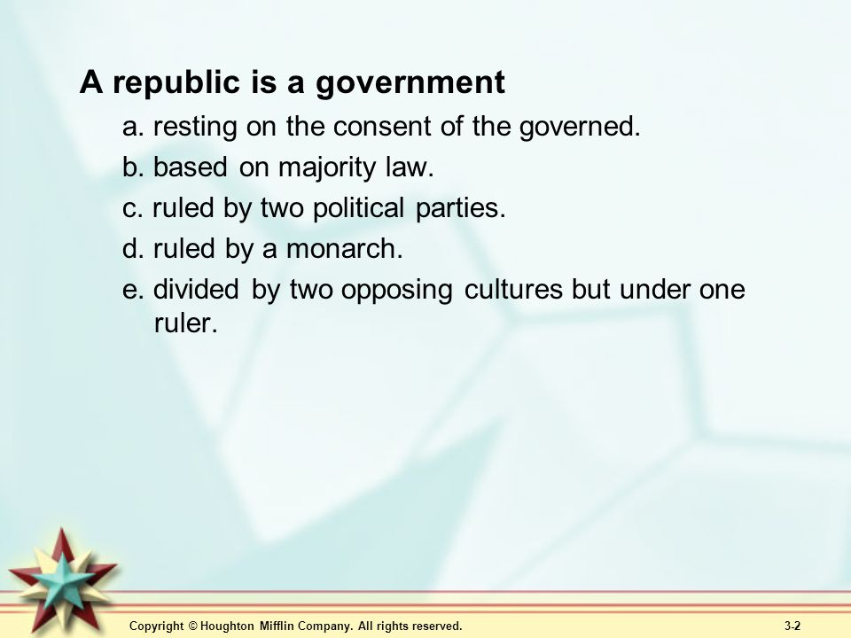 A republic is a government
