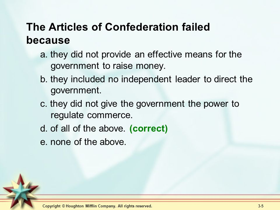 The Articles of Confederation failed because