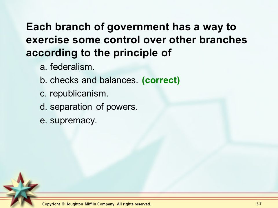 Each branch of government has a way to exercise some control over other branches according to the principle of