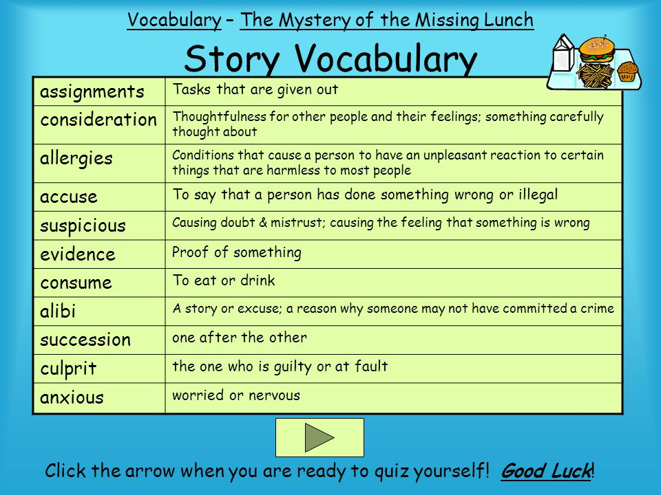 Story Vocabulary Vocabulary – The Mystery of the Missing Lunch