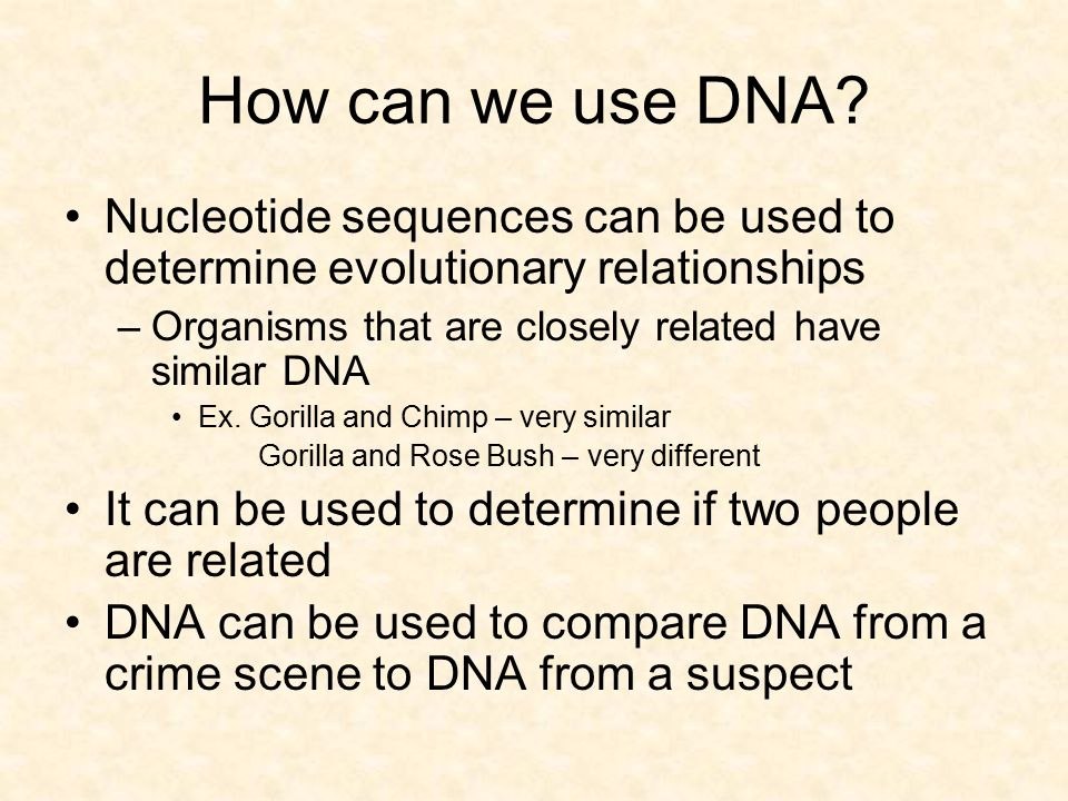 How can we use DNA Nucleotide sequences can be used to determine evolutionary relationships. Organisms that are closely related have similar DNA.