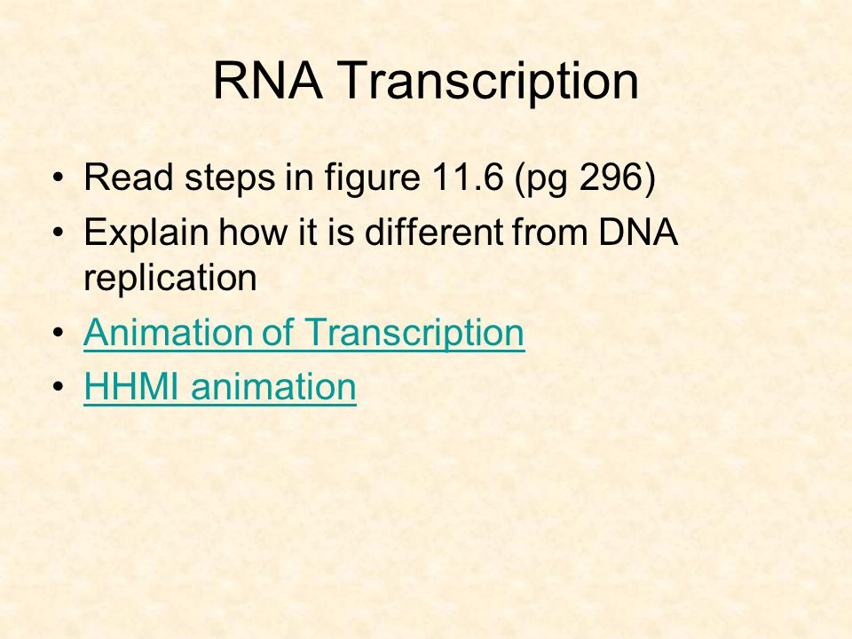 RNA Transcription Read steps in figure 11.6 (pg 296)