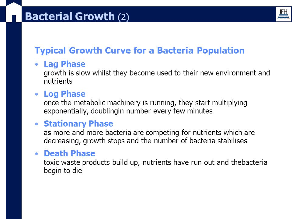 Bacterial Growth (2) Typical Growth Curve for a Bacteria Population