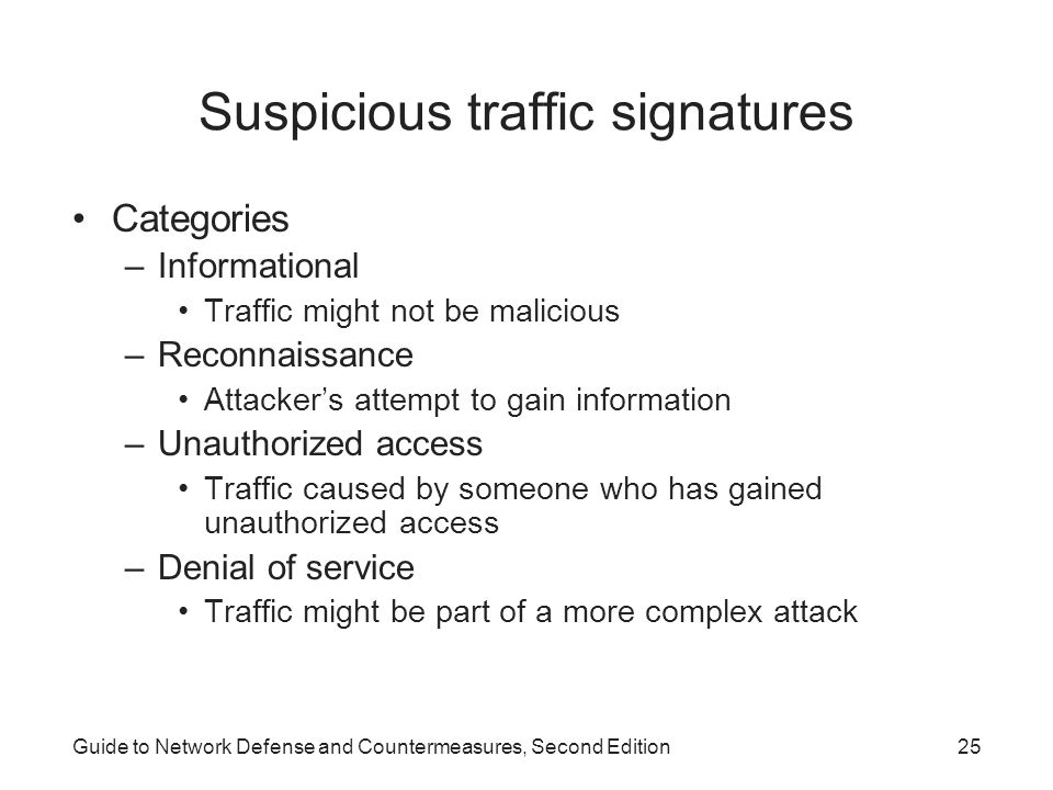 Suspicious traffic signatures