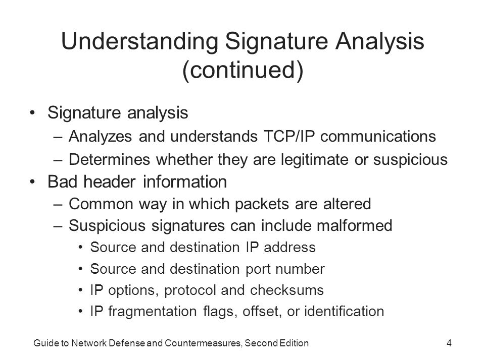 Understanding Signature Analysis (continued)