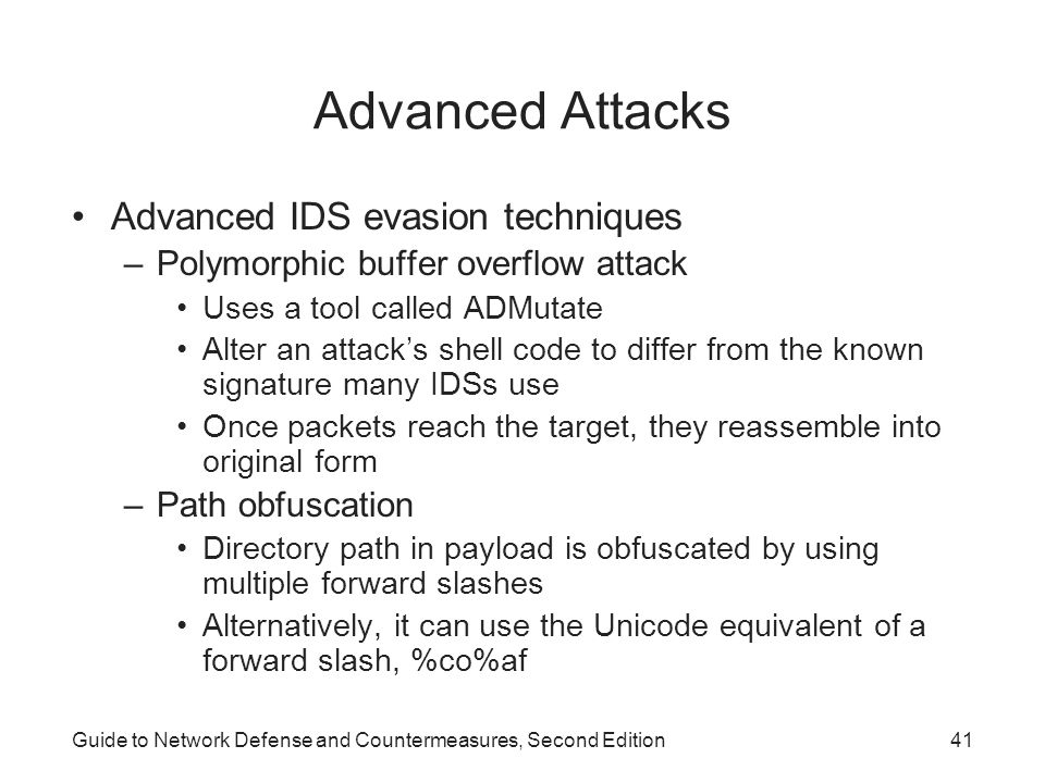 Advanced Attacks Advanced IDS evasion techniques