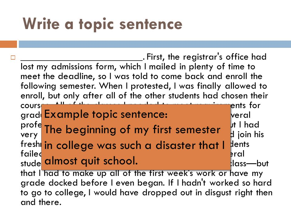 Write a topic sentence Example topic sentence: