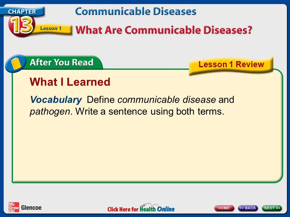 Lesson 1 Review What I Learned. Vocabulary Define communicable disease and pathogen. Write a sentence using both terms.