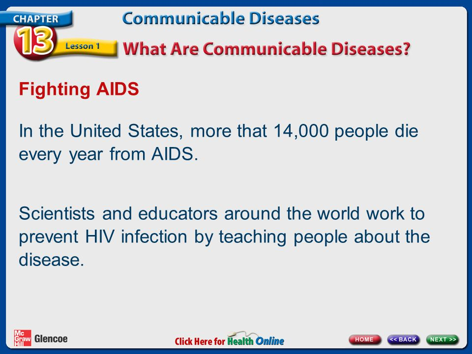 Fighting AIDS In the United States, more that 14,000 people die every year from AIDS.
