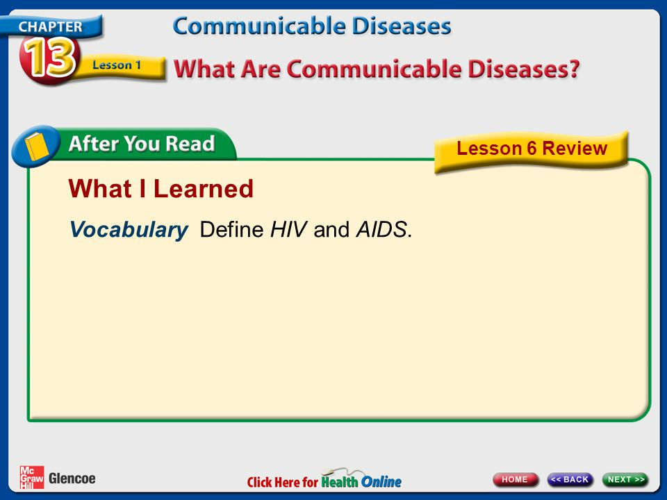 What I Learned Vocabulary Define HIV and AIDS. Lesson 6 Review