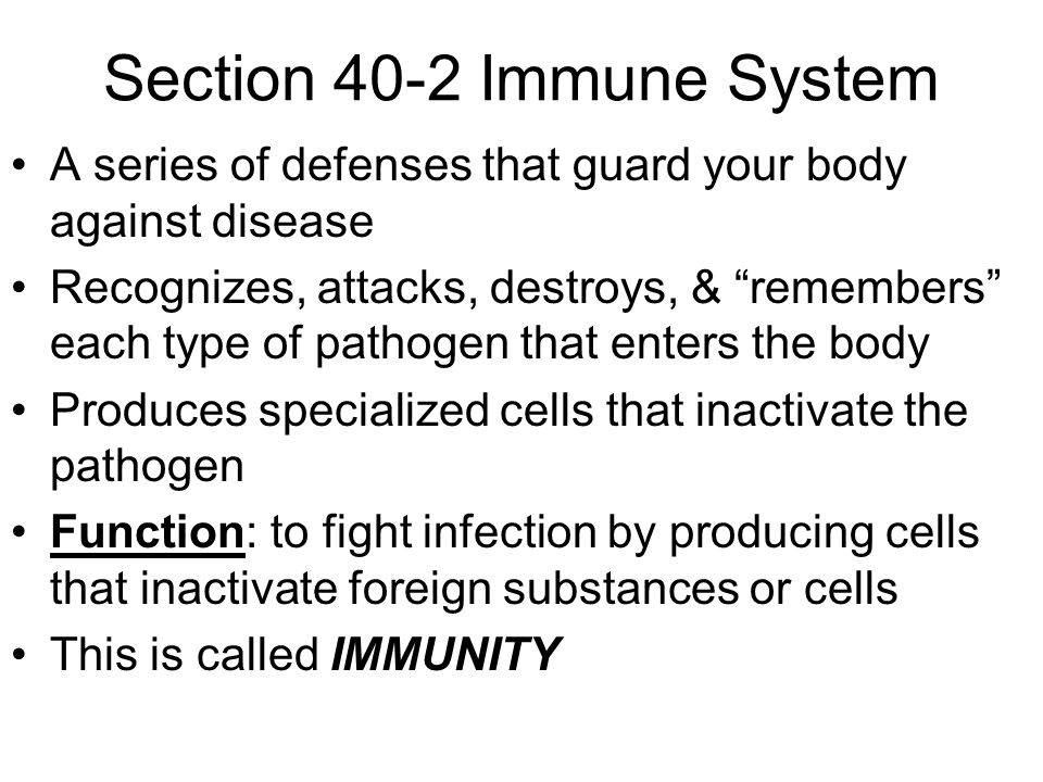 Section 40-2 Immune System