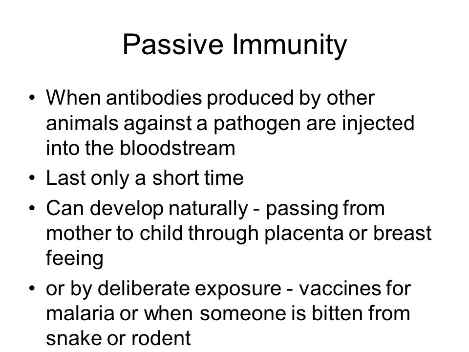 Passive Immunity When antibodies produced by other animals against a pathogen are injected into the bloodstream.