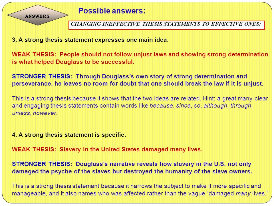 possible thesis statements This statement is on its way to being a thesis however, it is too easy to imagine possible counterarguments for example, a political observer might believe that dukakis lost because he suffered from a soft-on-crime image.
