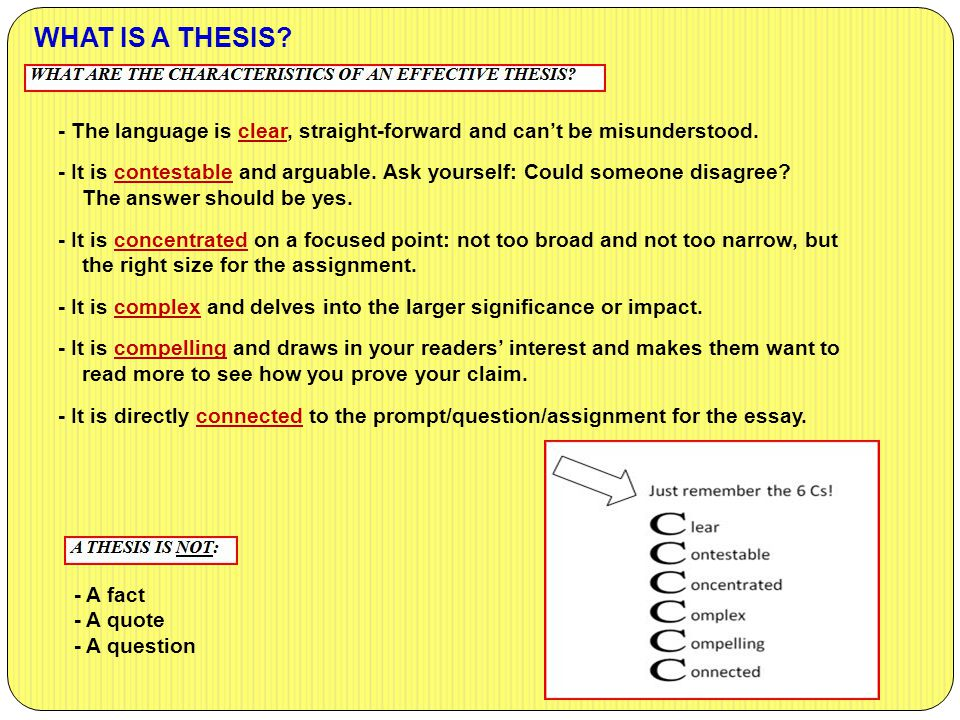 WHAT IS A THESIS - The language is clear, straight-forward and can't be misunderstood.