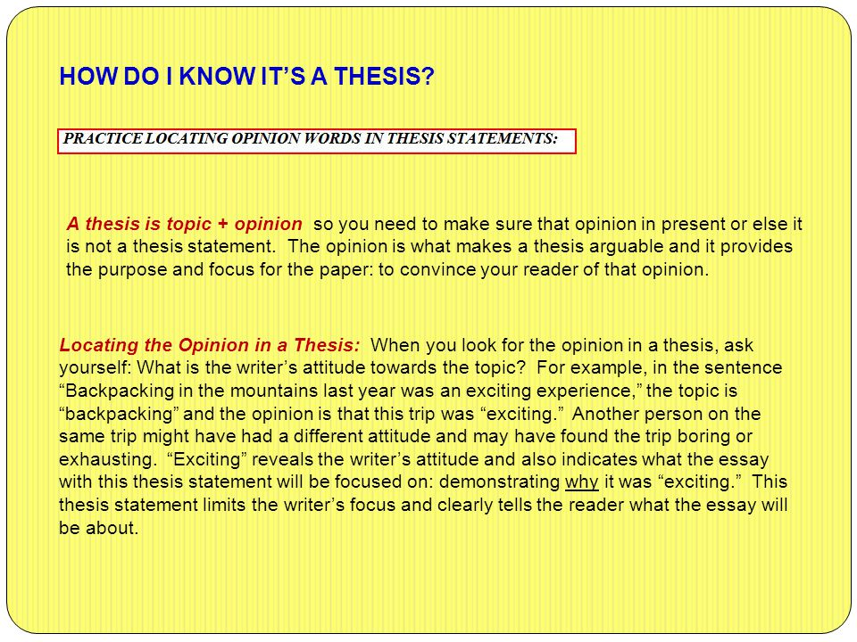 HOW DO I KNOW IT'S A THESIS