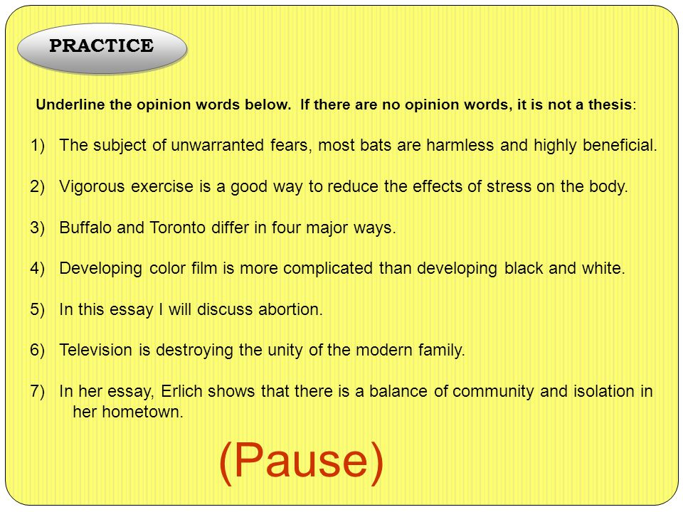good thesis for stress Either one will work but it is a good idea to leave out first person out of the thesis statement be sure to follow up in your essay the factors that stress.