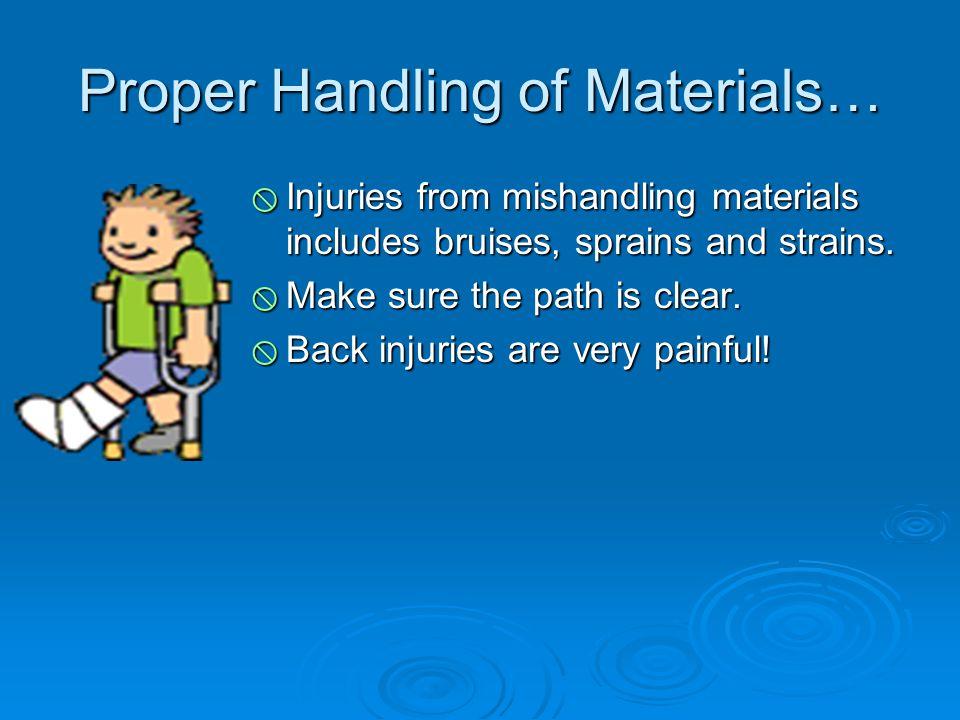 Proper Handling of Materials…