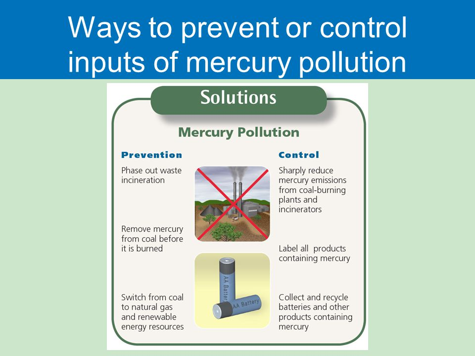 Ways to prevent or control inputs of mercury pollution