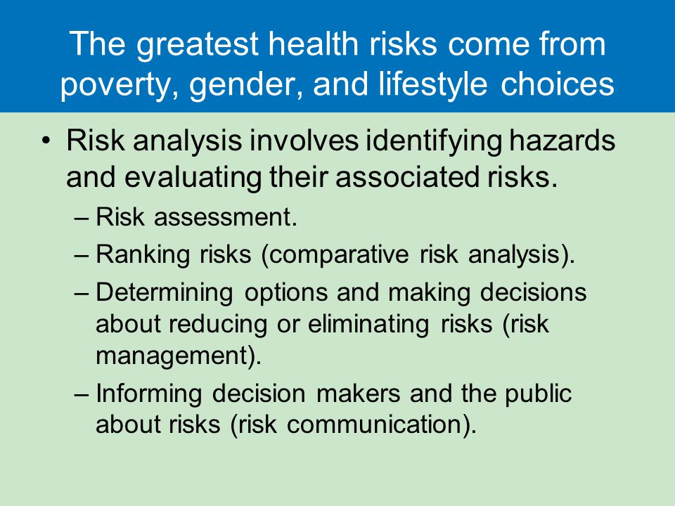The greatest health risks come from poverty, gender, and lifestyle choices